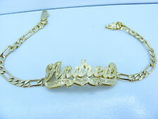 PERSONALIZED 14K GOLD GP FIGARO/CUBAN/FLAT LINK DOUBLE 3D NAME PLATE BRACELET LD
