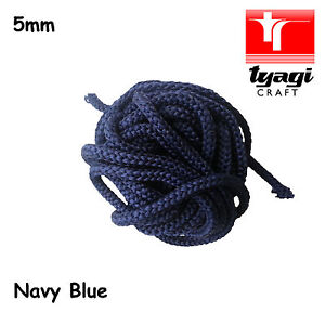 5mm NAVY BLUE Cord Polyester ParaCord Braided Rope Soft Bracelet Sewing Trim