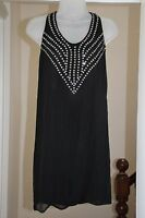 Stella McCartney Black Silk Chiffon Embellished Jewel Mini Dress IT38 UK 6 8 XS