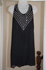 STELLA McCARTNEY soie noire Mousseline Embellie Bijou Robe Mini IT38 UK 6 8 XS