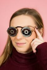 Fabulous gold & silver crazy eyeball flip up mirrored lens round sunglasses