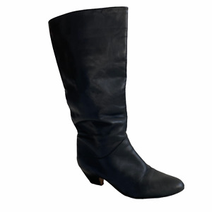Vintage 1980s Black Leather Boots Womens 9 Black Tall Kitten Heel New Wave