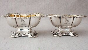 Pair Antique 19th Century German Austrian Armorial .812 Silver Salt Cellars 13F