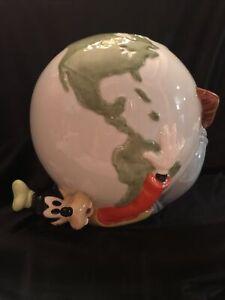 Rare Disney Goofy Ceramic Piggy Bank Holding Globe World Made In Mexco