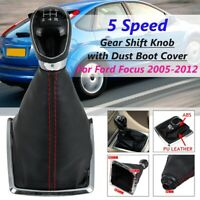 5 Speed Black Gear Stick Shift Knob + Boot Cover For Ford Focus MK2 2005-2012