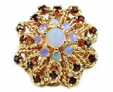 Women's Handmade Opal & Garnet 1.03 ct Cocktail Ring in 18k Solid Yellow Gold