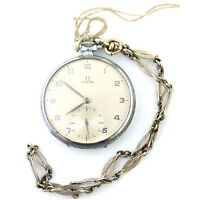 OMEGA BEIGE DIAL STERLING SILVER POCKET WATCH FOR PARTS OR REPAIR