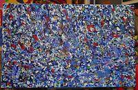 XXL Acryl Kunst Leinwand Bild großes Wandbild 160x100 abstrakt blau Silberstreif