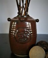 Arts and Crafts Style Hand Thrown Stoneware Pottery Vase w/ Etched Primitive