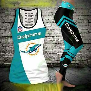 Miami Dolphins 2PCS Tank Top Leggings Women's High Waist Butt Lift Yoga Pants