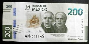MEXICO 2018 : 200 Pesos Bank Note. Current Tender, Serial #AA1195475 New Design