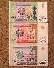 3 x Ouzbékistan billets. 200, 500, 1000 Sum. UNC.