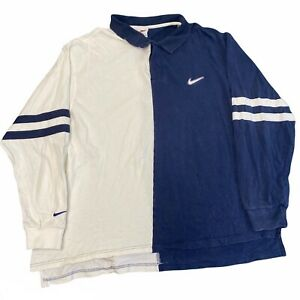 Vintage 90s Nike air Swoosh long sleeve polo rugby shirt navy Men's size XXL