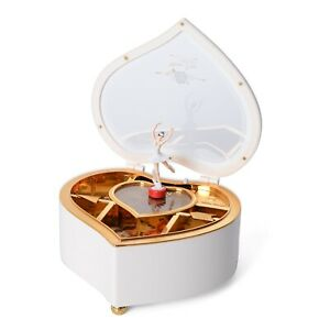 Valentine Heart Shape Music Dancing Jewelry Box with Ballerina Magnetic Dancer