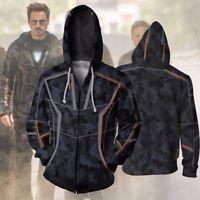 The Avengers Infinity War Mens Hoodie Iron Man Zip Sweatshirt Hooded Coat Jacket