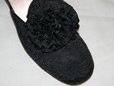 Sexy! VTG 50s DANIEL GREEN bedroom LOW HEEL SLIPPERS black brocade SZ 6 NARROW