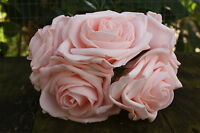 5 x LIGHT /  BABY PINK COLOURFAST FOAM OPEN LARGE ROSES 9cm  WEDDING FLOWERS
