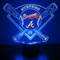 Atlanta Braves, MLB Baseball LED Sports Fan Lamp, Personalized FREE, With Remote