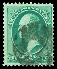 Scott 136A 1870 3c Washington Issue I-Grill Used F-VF Black Cancel Cat $100