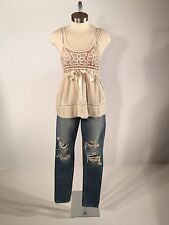 Women's Betsey Johnson Boho Lace Empire Top With Nude Overlay Size 4
