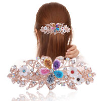 Ladies Crystal Flower Hair Clips Slide Pins Barrettes Ponytail Hair Accessories
