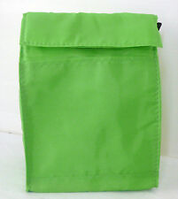 LIME GREEN - Reusable LUNCH BAG - Insulated - Tab Closure - Front Pocket