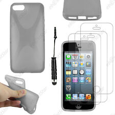 Housse Etui Coque Silicone X Gris Apple iPhone SE 5S 5+Mini Stylet+3 Film écran