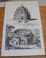 c1670 Antique JOAN BLAEU Print/AUGUST MAUSOLEUM & FOOTSTEP MONUMENT, ROME, ITALY