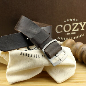 Vintage 406 Leather One Piece Watch Strap 18mm 20mm 22mm (Perlon Style)