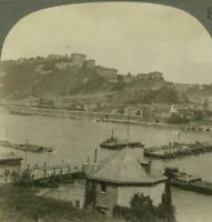 The Stars & Stripes is Hoisted Over Ehrenbreitstein on the Rhine - Stereoview