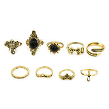 Fashion Bohemian Punk Gothic Vintage Gold Silver Plated Women Finger Rings Set