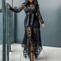 Vintage Women Party Sexy Black Lace Long Dress Plus Big Size Large S-XXXXXL 5XL