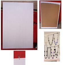 tableau d'affichage présentoir bijoux collier liège tissu blanc 60 x90 cm vertic