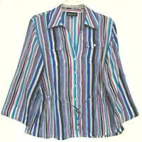 NWOT WOMENS JONES NEW YORK 100% COTTON MULTI COLORED STRIPED BLOUSE PLUS SIZE 1X