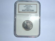 2000-D 25C New Hampshire State Quarter NGC MS 67