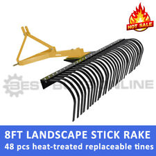 New 8 FT TRACTOR LANDSCAPE STICK RAKE (240CM) 3 POINT LINKAGE