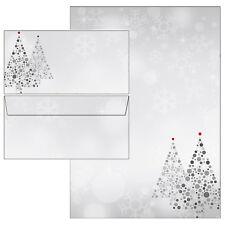 Weihnachtsbaum grau rot modern Weihnachten Briefpapier 20 Blatt A4 + 10 Kuverts
