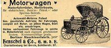 Henschel & Co. Charlottenburg MOTORWAGEN  Historische Reklame von 1899