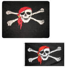 """Wholesale Combo Lot Pirate Red Hat 50""""x60"""" Fleece & 3'x5' Polyester Flag"""