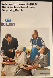 KLM DUTCH AIRLINES PROFILE SERVICES BROCHURE 1970 B747 DC8 DC9 ROUTE MAP