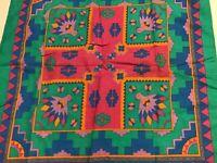 Southwestern Aztec Bandana Scarf Paris USA Phoenix Bird Bright Colors Vintage
