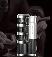 Triple Torch Flame Cigar Cigarette Lighter Butane Gas Jet  Lighter Silver