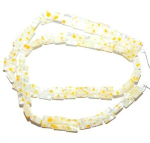 """G3478 Clear & Yellow Multiple Flower Flat 8mm Square Millefiori Glass Beads 15"""""""
