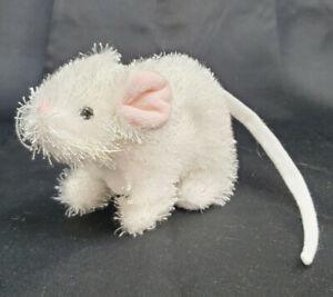 "Ganz Webkinz White Mouse Plush 6"" L Pink Ears Nose Long Tail Stuffed HS207"