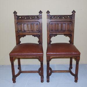 antica coppia di sedie Napoleone III 1870 in noce massello