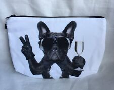 Fashion Party Pug Dog Make up Case/Champaign/ Cosmetic Makeup Bag/Party Pug