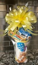 Get Well Soon Candy & Snacks Gift Basket Wrapped With Yellow Bow & Card