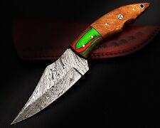 08-HANDMADE DAMASCUS-STEEL 9 COCO-BOLO HANDLE SKINNER KNIFE/COW  LEATHER SHEATH