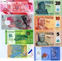 World Polymer Banknotes Set 8 Pcs Lot Different Notes From 6 Countries All UNC