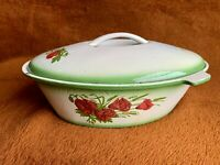 Cast Iron 3.5 Qt Cooking Pot Oval Multicolored Floral Enamel Covered With Lid
